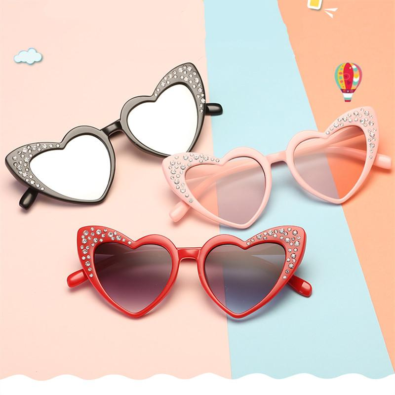 Plastic Children Sunglasses Heart Gradient Kids Sunglass Brand Mirror Pink Boys Girls Sun Glasses UV400 Gafas De Sol