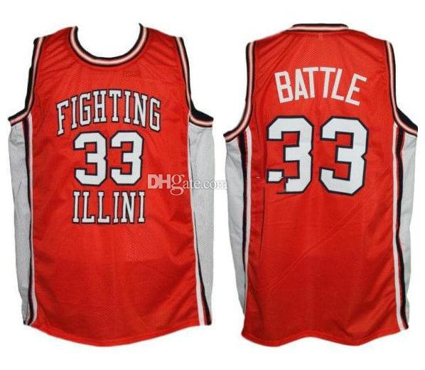 #33 Kenny Battle Illinois Fighting Illini College Retro Classic Basketball Jersey Mens Stitched Custom Number and name Jerseys