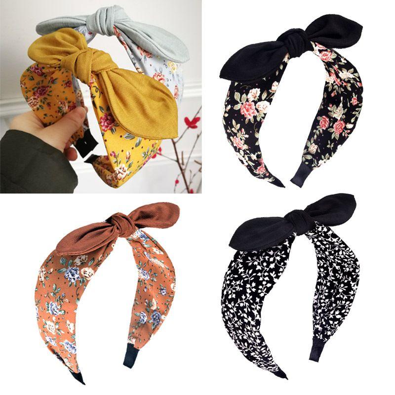 Mode Bow Oreilles de lapin pour les femmes Bandeau hairband filles Impression sur Etoffes Floral Band Hoop Accessoires cheveux Couvre-chef Coiffe