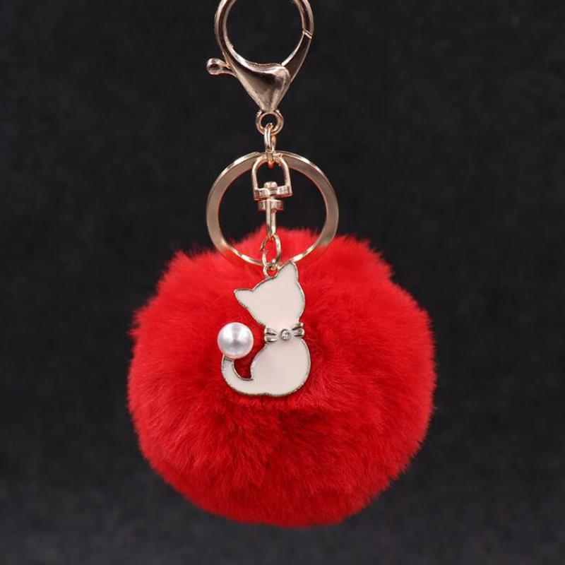 30pcs / Lot Женщины ювелирных изделий Брелки Сумка подвеска украшения Плюшевые шарики с кошкой Брелок для девочек Аксессуары
