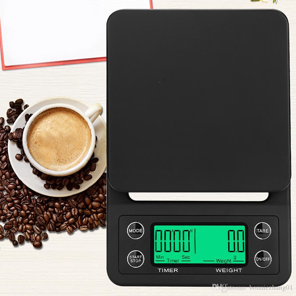 0.1G 3kg و/ 5KG بالتنقيط مقياس القهوة مع الموقت الالكترونية مقياس مطبخ الرقمية يزن توازن الميزان LCD