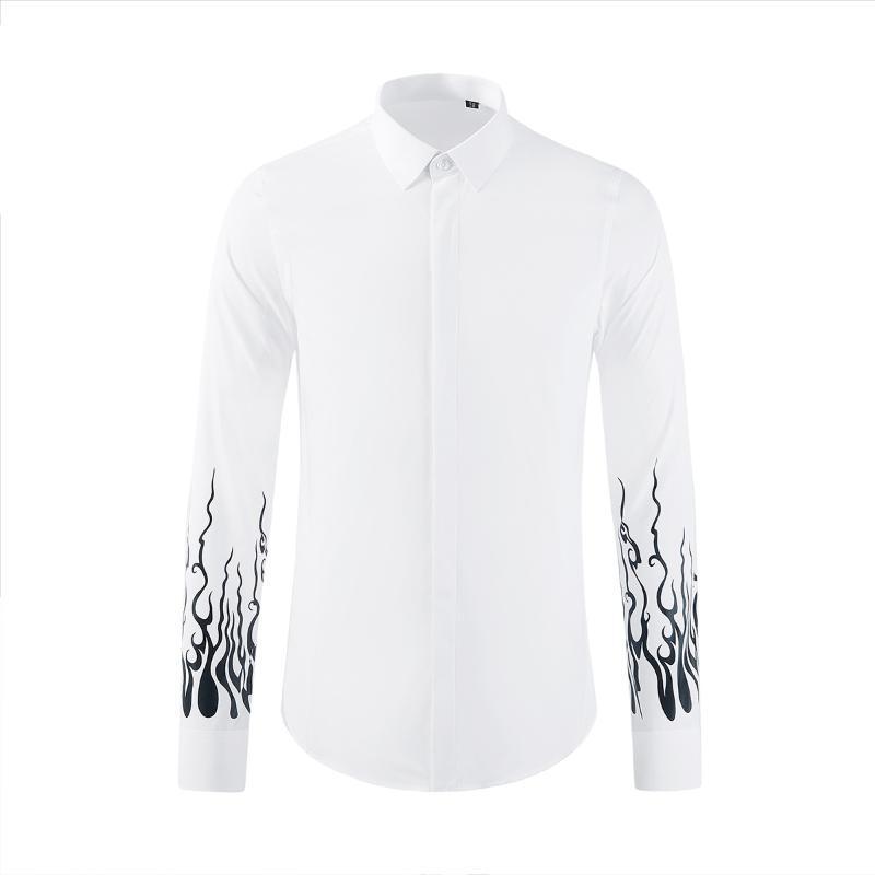 Minglu hombre blancas camisas de manga larga de lujo de la individualidad impresos camisas sport del varón de la manera adelgazan Partido hombre 3XL