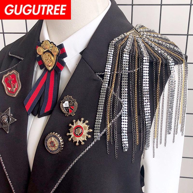 GUGUTREE spilla breastpin fiocchi bordo di spalla toppa metallo patch distintivi applique patch per abbigliamento HH-105