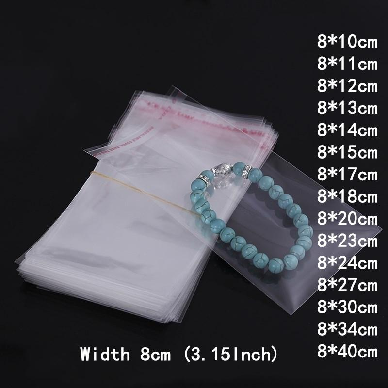 500pcs 8cm Wide Transparent Self Sealing Plastic Bags Opp Candy Jewelry Gift Packing Little Pen Bag Home Wedding Decoration