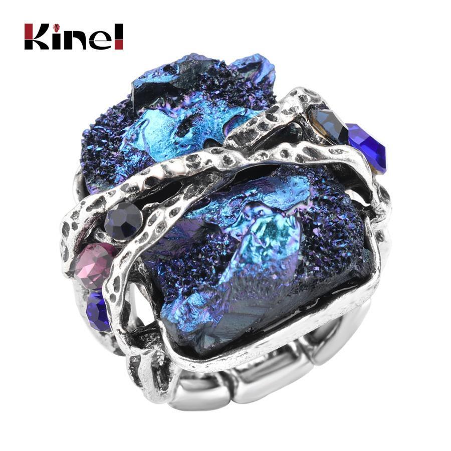 Kinel Anillo de piedra natural Joyas antiguas Plata antigua / oro rosa Punk Rock Crystal Stretch Ring venta al por mayor Dropshipping J190718