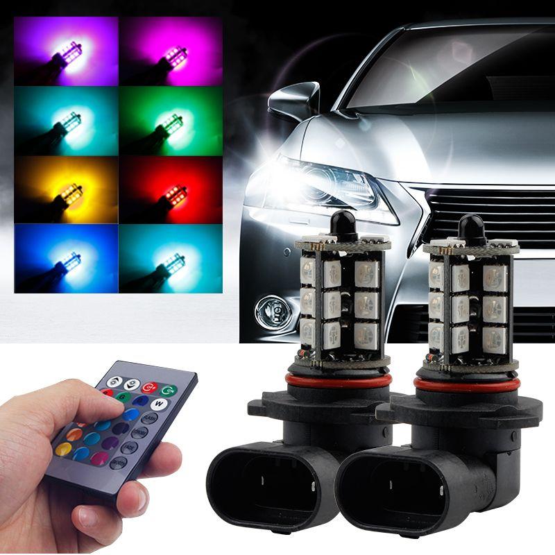 2PCS 5050 de luz LED 27SMD coche H1 H4 H7 H11 RGB luces antiniebla para auto colorido de los faros de niebla flash estroboscópico del control remoto 16 Modelos
