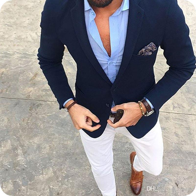 Tailored Made Dark Blue Men Suits Casual Male Blazers Man Jacket Slim Fit Groomsmen Coat White Pants Latest Designs Costume Homme Cool Tuxedos For