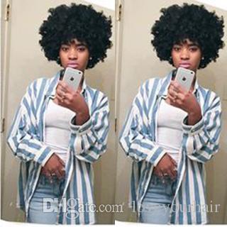 novo penteado branco brazilian cabelo Africano Americ curto encaracolado naturais peruca Simulação Cabelo Humano afro peruca curta encaracolado para as mulheres
