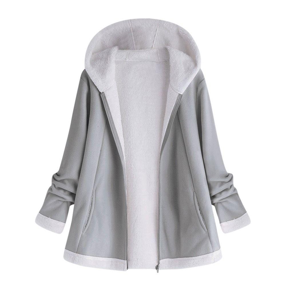 women's autumn jacket Winter warm solid Plush Hoodie Coat Fashion Pocket Zipper Long Sleeves outwear manteau femme plus size 5XL Y200101