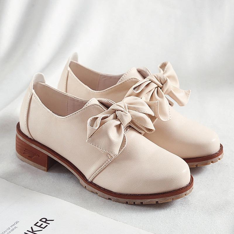 Preppy بنات أوكسفورد أحذية السيدات BOWKNOT ديربي متعطل شقق جلدية الصلبة أحذية امرأة سميكة من المطاط وحيد بولوك بالاضافة الى حجم الحذاء