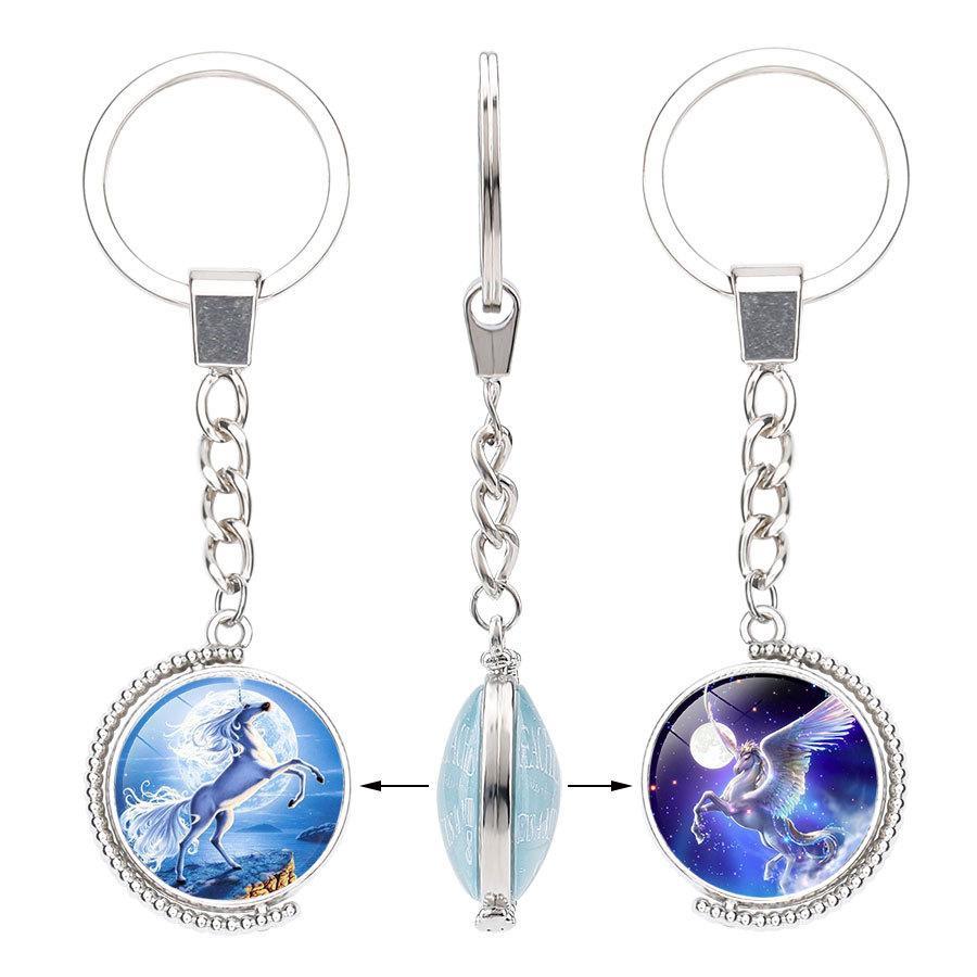 Einhorn Keychain Stich Glas Cabochon-Legierung Double Side Drehbare Schlüsselring llaveros Schlüsselanhänger für Frauen-Mann Trendy Schmuck Geschenk