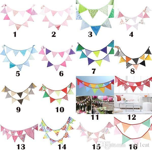 12 Flags Fabric String Flags Wedding Birthday Party Pennant Bunting Banner GR