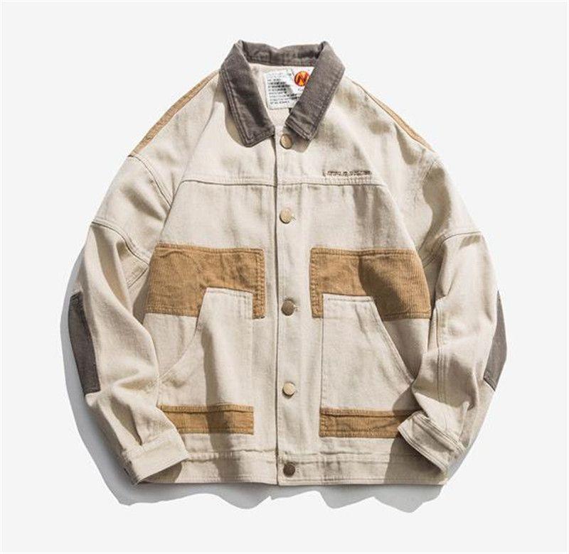 Suelta del diseñador del Mens chaquetas de moda con paneles solo pecho de solapa cuello para hombre Tooling chaquetas casuales hombres Ropa