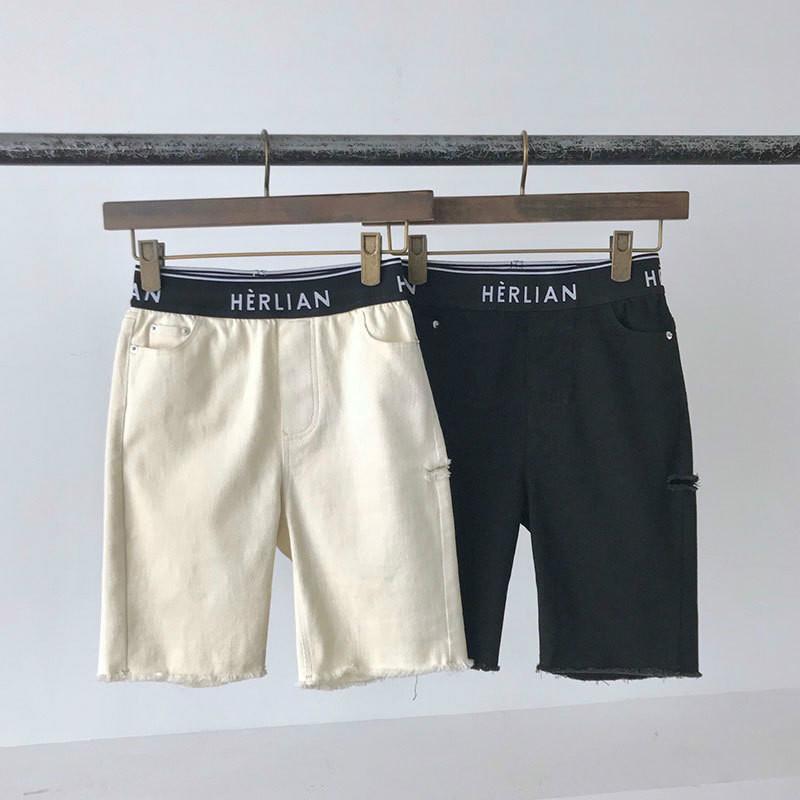 20ss Womens Designer Casual Herlian Marca Calças Primavera e Verão Shorts femininos selvagens cinco pontos Jeans soltas calças cintura Moda Tide S-L