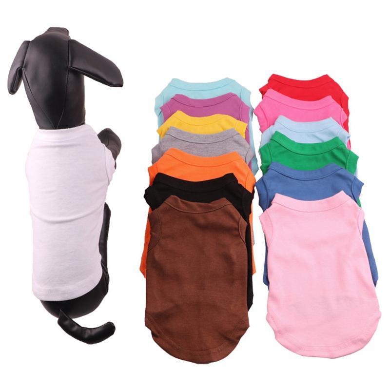 단색 애완 동물 개 T 셔츠 애완 동물 의류 강아지 코튼 셔츠 애완 동물 봄 여름 T 셔츠 개 민소매 동물 고양이 옷 BH2512 TQQ