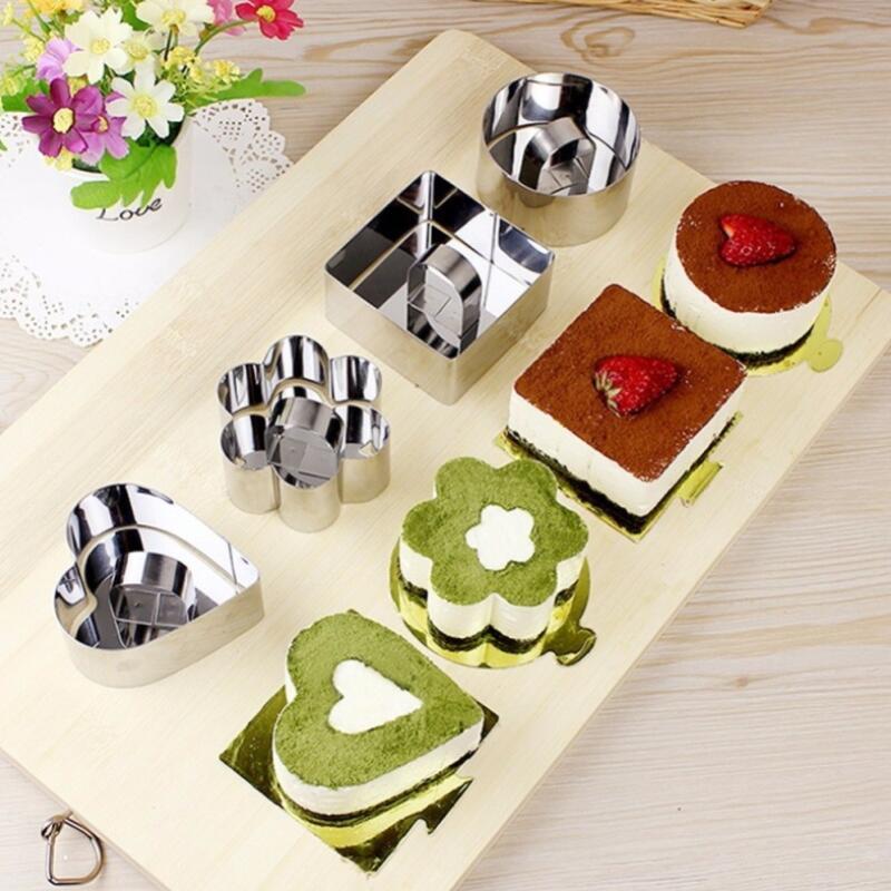 Mousse molde pequeño torta de la forma del cuadrado del acero inoxidable redonda Corazón torta de mousse de molde Mousse Anillo hornada de la cocina Herramientas