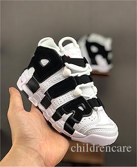Children Infant toddler Uptempo Pippen Kids basketball shoes Black red White children athletic sports sneakers size 28-35