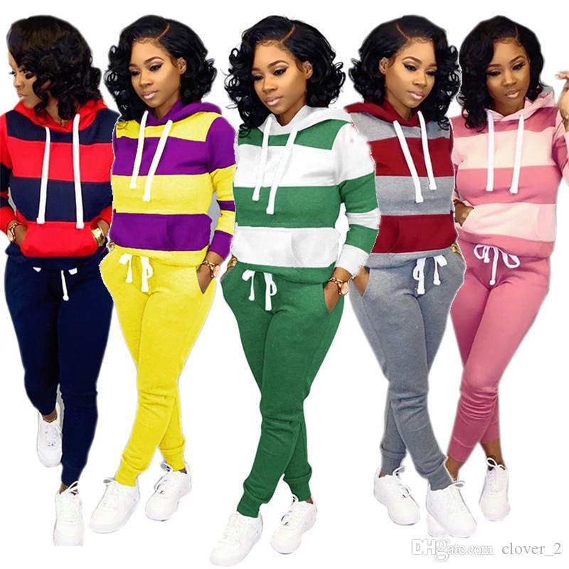 Womens clothing long sleeve hoodie outfits 2 piece set women tracksuit jogging sport suit sweatshirt tights sport suit autumn suit klw2353
