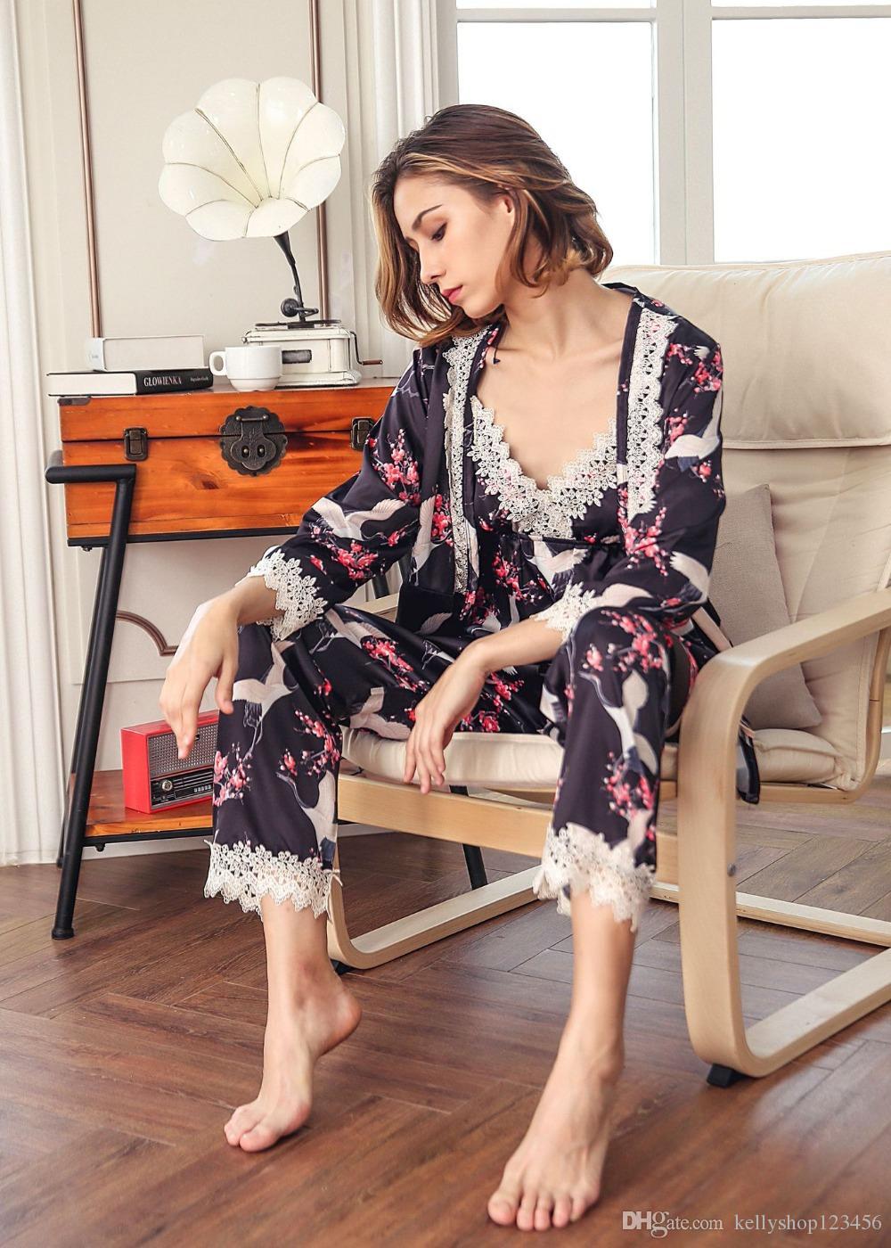 1aec6c0e32611 ... Весенние женские точки с длинными рукавами, штаны, комплекты, пижамы,  домашняя одежда,