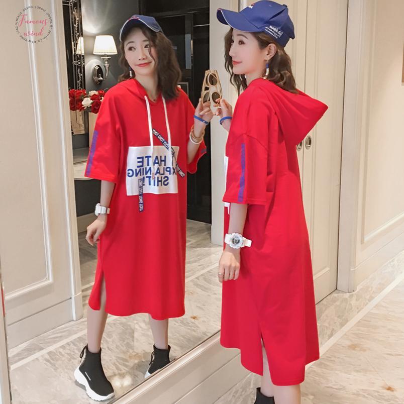 4964 Summer 2020 Casle Long Hooded Dress Plus Size Cotton Loose T Shirt Dress Women Short Sleumps Black red 3Xl