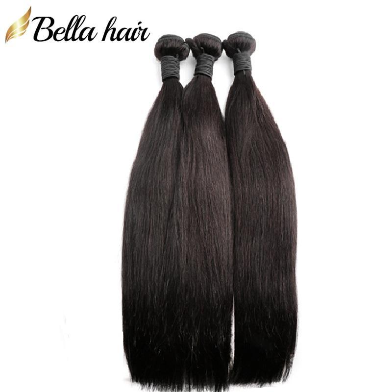 Pacotes de cabelos virgem peruanos extensões de cabelo humano não transformadas tecidos brasileiros sedoso cabelo em linha reta indiano Malásia 3 pçs / lote Bellahair