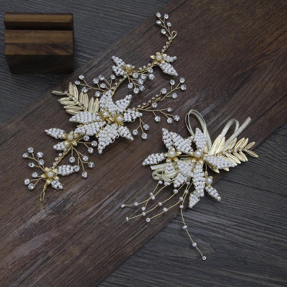 Korean Bride Bridesmaid Headwear Golden Flower Bead Chuck Decorate Crystal A String Of Beads Flower Wedding Dress Full Dress