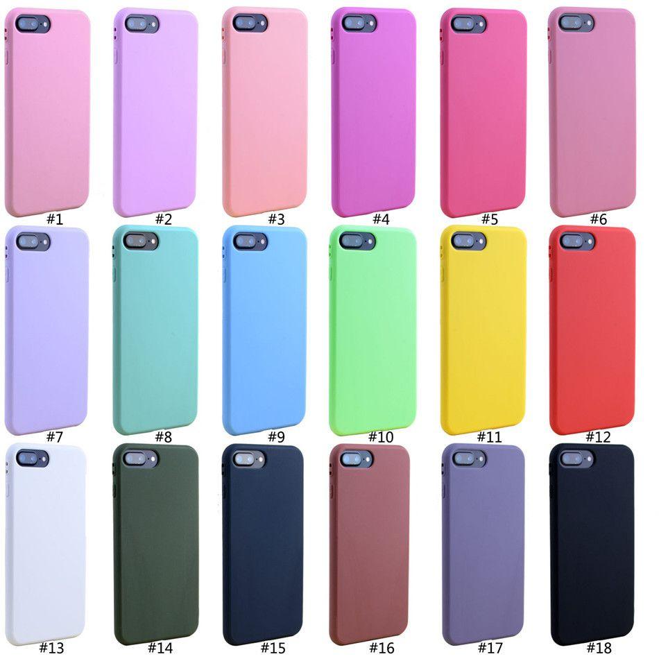 Cep Telefonu Accesorios Davası 5SE iPhone X XS Max XR 8 7plus 6S için Şeker Renk Yumuşak TPU Kauçuk Silikon Kılıf