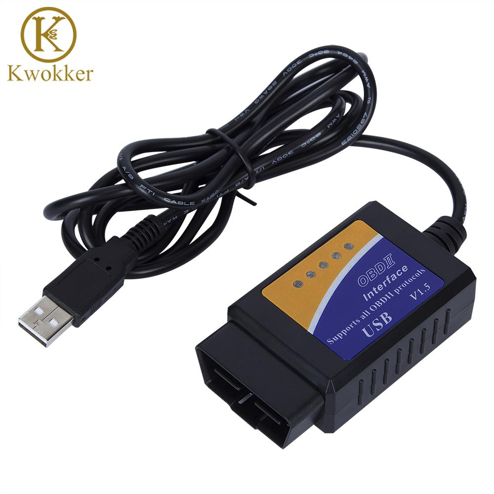 Freeshipping Factory Price OBD/OBDII Scanner ELM 327 Car Diagnostic Interface Scan Tool ELM327 USB Supports all OBD 2 Protocols Diag Tool