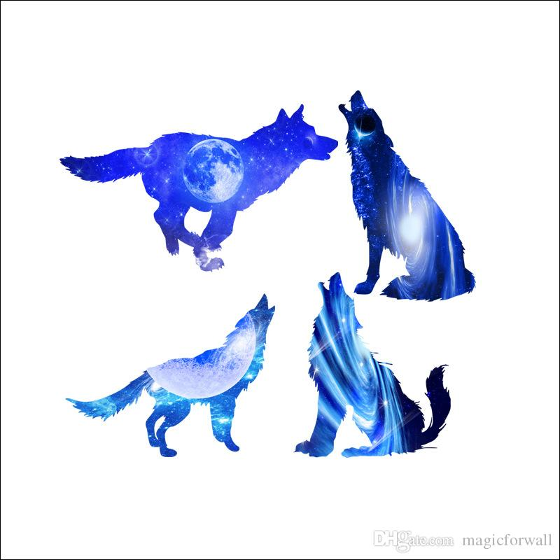 Starry Sky Wolves Wall Stickers Fantastic Animals Home Decor Self-adhesive Wallpaper Poster Art Living Room Bedroom Creative Blue Appliques