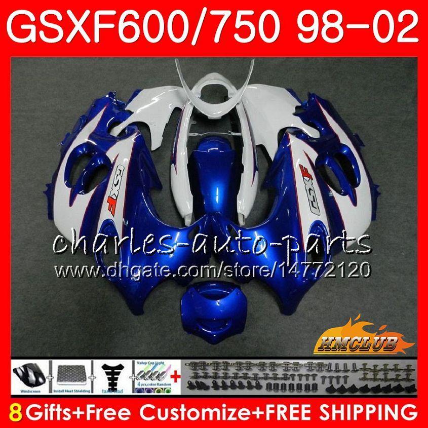 Kropp för Suzuki Katana GSXF 750 600 GSXF600 98 99 00 01 02 Blå Vit 2hc.30 GSX750F GSX600F GSXF750 1998 1999 2000 2001 2002 Fairing Kit