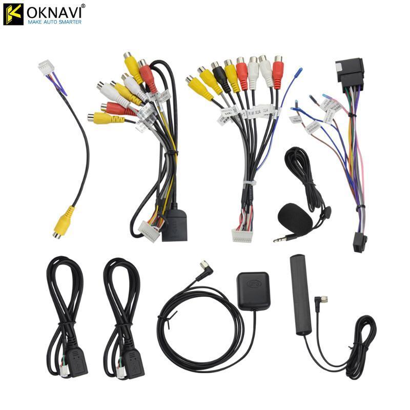 OKNAVI ميكروفون USB GPS كاميرا للرؤية الخلفية RCA الناتج AUX فتحة بطاقة SIM راديو محول 16PIN 4G كابلات كهرباء لسيارة الملاحة سيارة دي في دي