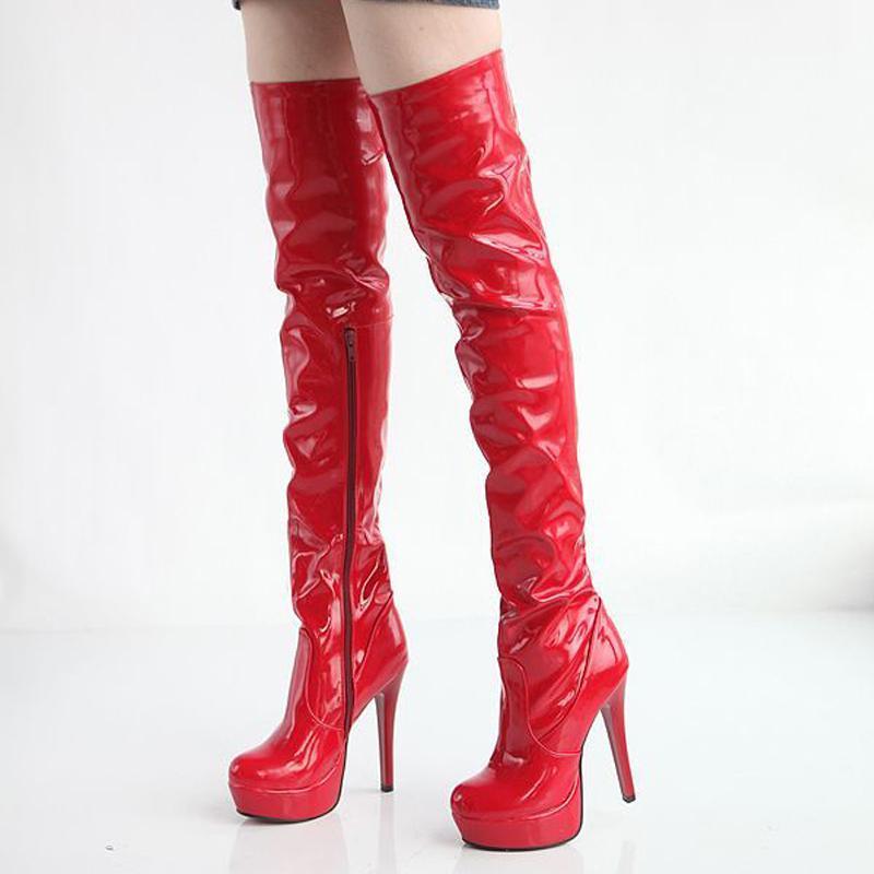 2019 Kadınlar Over The Knee Boots Seksi payetli Deri Uyluk Boots Yüksek topuk Gece kulübü Moda Bayan Ayakkabıları kırmızı Boyut 34-43 38 39