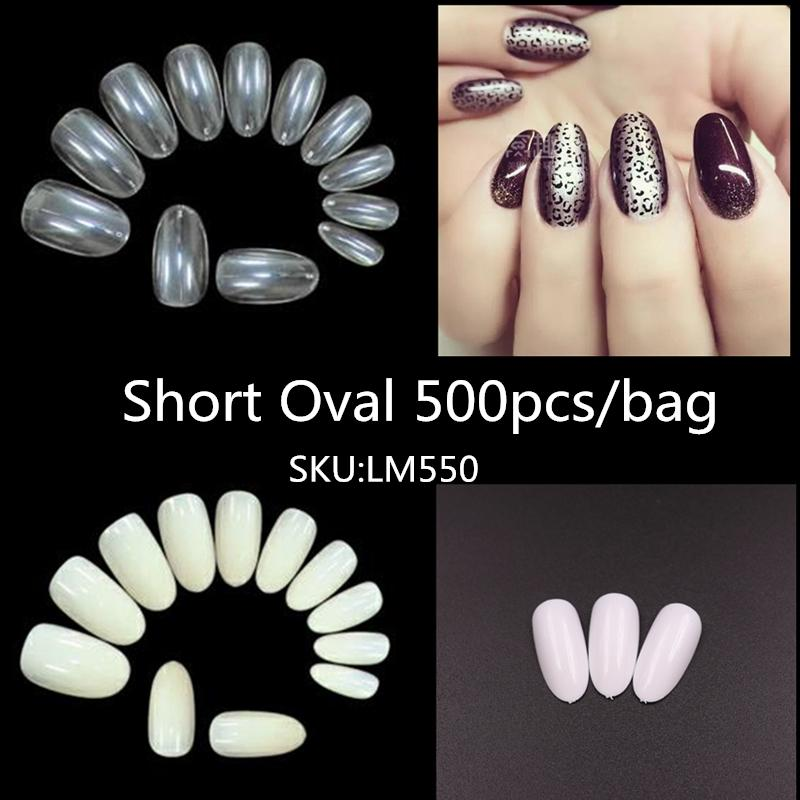 Nagels 500pcs curto oval redondo Falso Nail Tips cobertura completa pregos falsificados Press On Unhas NEP para Manicure Acrílico Nails