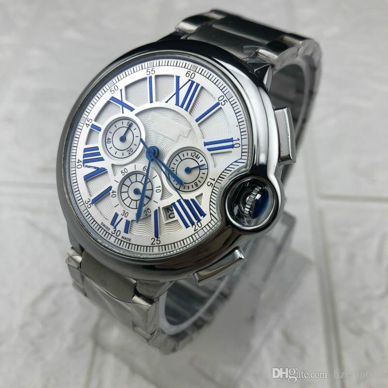 2019 Мужские спортивные часы 48 мм размер CAL 1887 кварцевые часы скольжения гладкая золото серебро лицо корпус из нержавеющей стали наручные часы