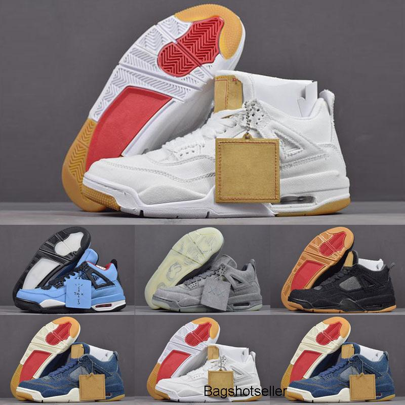 2020 New Top Quality Jumpman 4 Denim LS Jeans Kids Basketball Shoes Men 4s NRG Blue Black White Denims Sports Sneakers New