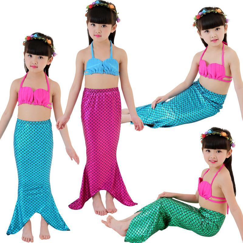 الفتيات mermaid ملابس 3 قطع الفتيات يتوهم قطع حورية الذيل المايوه البيكيني مجموعة أطفال حورية الذيل الطفل بنات السباحة المايوه