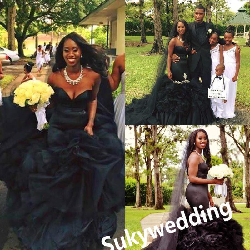 Gótico preto vestidos de noiva Ruffles Saia Vestidos Modest casamento da sereia com vestidos Fishtail nupcial frisada Querida nigeriano Africano