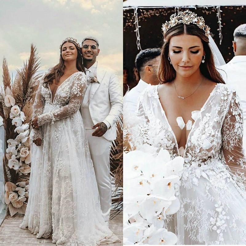 Bohemian Plus Size vestidos Brautkleider mit Langarm-2020 reizvolle tiefe V-Ausschnitt Lace Floral Bohemian Strand-Braut-Roben Kleid