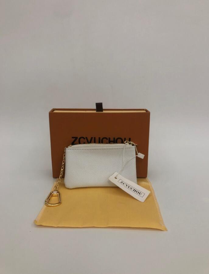 KEY SACCHETTO POCHETTE CLES Designer Holder modo delle donne Mens dell'anello chiave della carta di credito della borsa della moneta di lusso mini sacchetto del raccoglitore Charm Brown Canvas