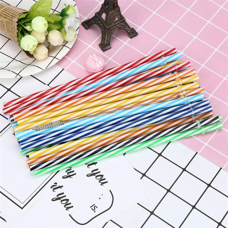 100 Pc/Lot Reusable Hard Plastic Straw High Quality Stripe drinking Straws with Brush free shipping