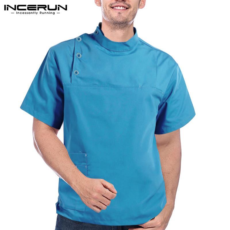 Uomini Camicia basamento solido manica corta collare cucina Chef Uniform traspirante tasto WORK Tops Uomini Workwear costumi S-5XL INCERUN