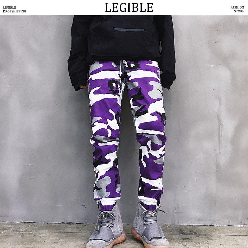 wholesale 2018 Men Joggers Pants Man Streetwear Blue Camo Cargo Pants Male Fashions Hip Hop Punk Camouflage Sweatpants