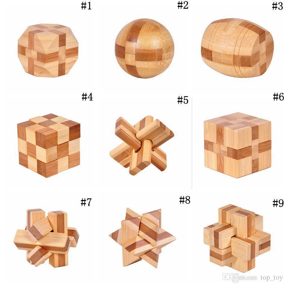 IQ المخ دعابة كونغ مينغ قفل 3D خشبي المتشابكة الأزيز الألغاز لعبة لعبة للبالغين OOA3961 الاطفال