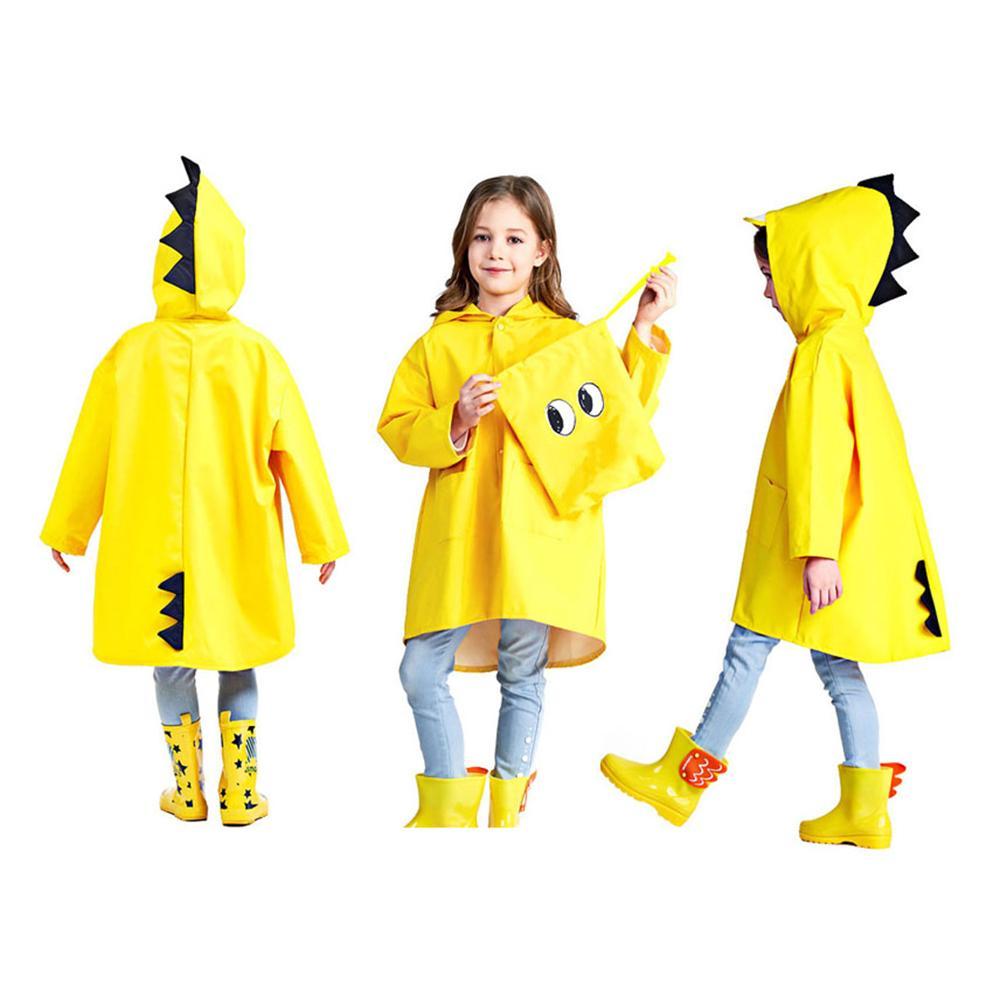Boys Girls Cartoon Raincoat Poncho 3D Dinosaur Pattern Kids Long Rain Coat Children Waterproof Rain Cover Regenponcho Kinderen