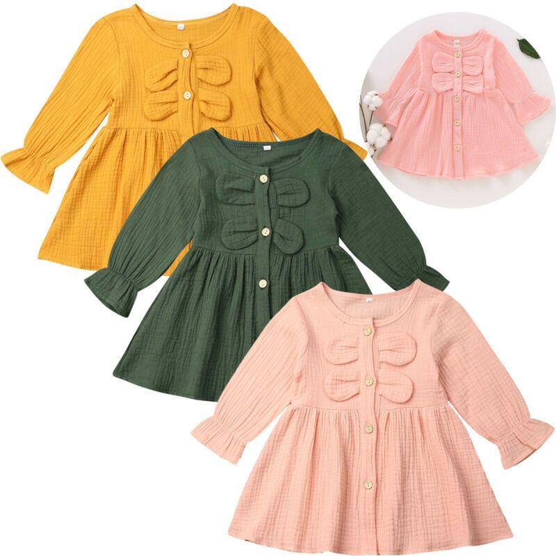 Abbigliamento bambino dei bambini dei capretti della neonata Cotone Lino Solid Button abito a maniche lunghe Ruffle Abiti De Festa Rosa Giallo Verde