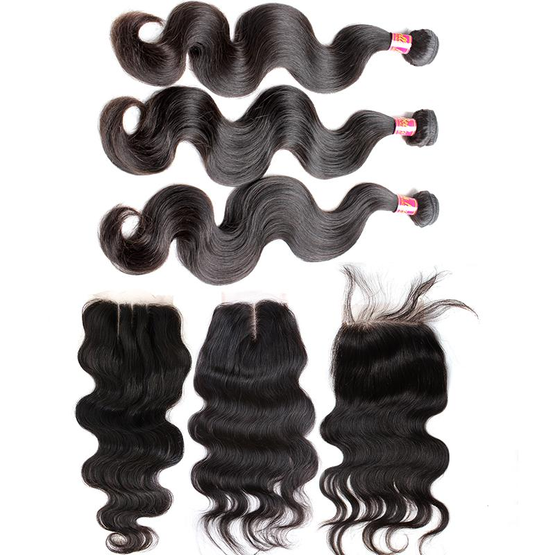 Bella Hair® 4pcs/lot Indian Virgin Hair Bundles with Closure 4*4 Body Wave Human Hair Extensions Full Head Natural Color