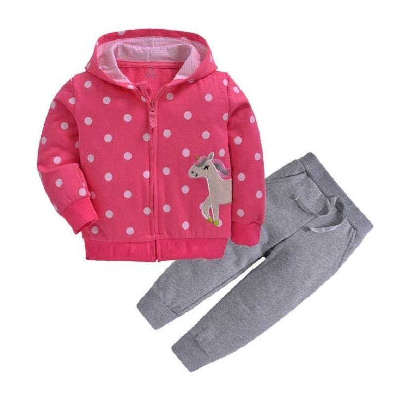 cartone animato unicorno incappucciati giacca + pantaloni a maniche lunghe neonata copre 2.019 caduta ragazzo vestito abbigliamento neonato 2pcs cotone bambino set T191024