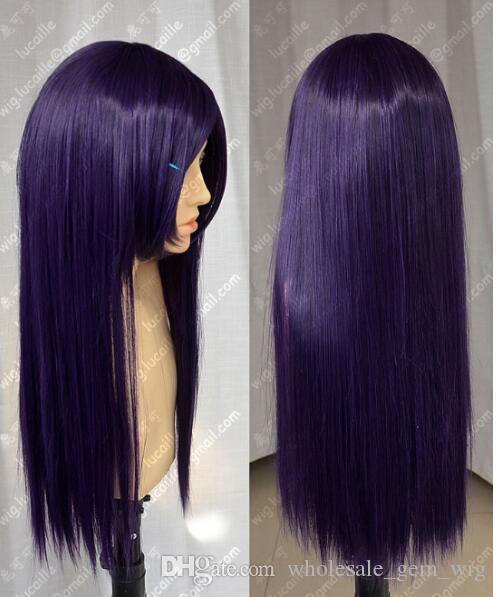 БЕСПЛАТНАЯ ДОСТАВКА + длинные темно-фиолетовые женские парики