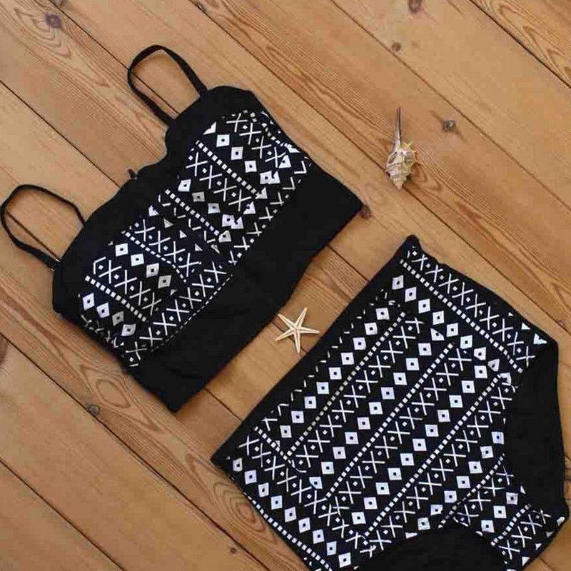 Empurre negro brasileiro Bikini Verão Up acolchoado Bandage Swimsuit Ladies Beach Wear Feminino Maiô Natação Mulheres natação Suit