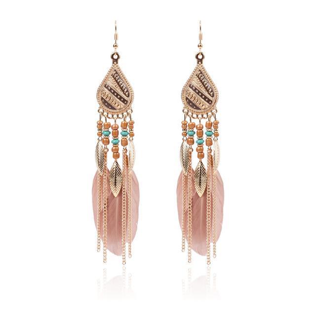 brincos de penas dangle para as mulheres contas moda gota de água brincos indian jóia